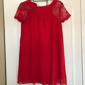 Dresses & Skirts - Red Lace Cut Out Dress